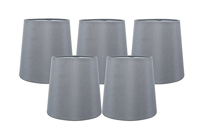 Meriville Set Of 5 Gray Faux Silk Clip On Chandelier Lamp Shades 4 Inch