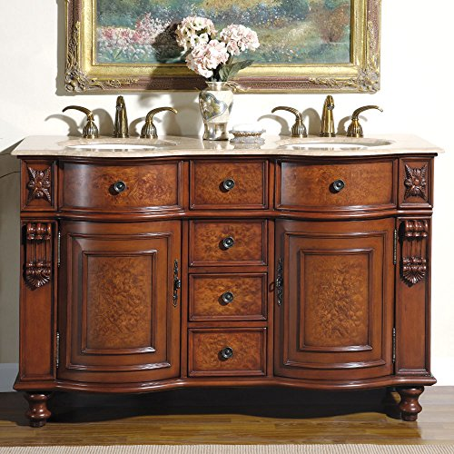 Silkroad Exclusive Countertop Travertine Double Sink Bathroom Vanity with Furniture Cabinet, 55-Inch