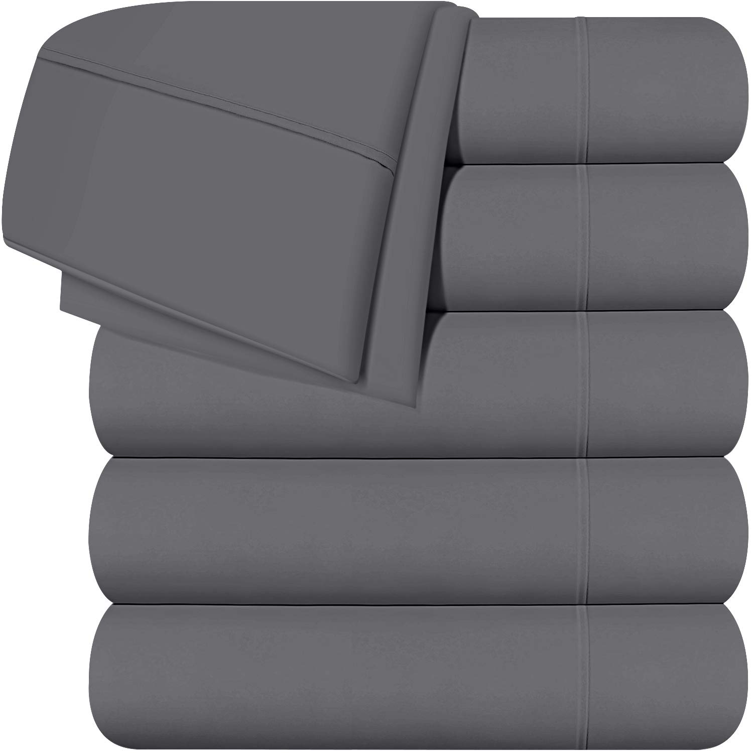 Utopia Bedding Twin Flat Sheets (Grey) Pack of 6
