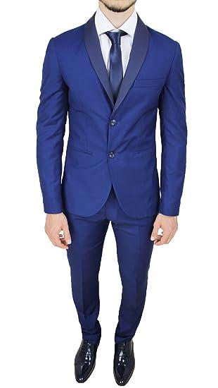 Abito completo uomo sartoriale made in Italy blu chiaro raso slim fit  elegante cerimonia (48 4d9ce36025a