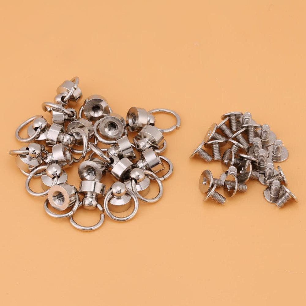Gun-Black AKOAK Brass Pull Ring Pacifier Shape Rivets with Screw,Rivets Fasteners for DIY Leather Craft Belt Bag Wallet,9mm,6 Set