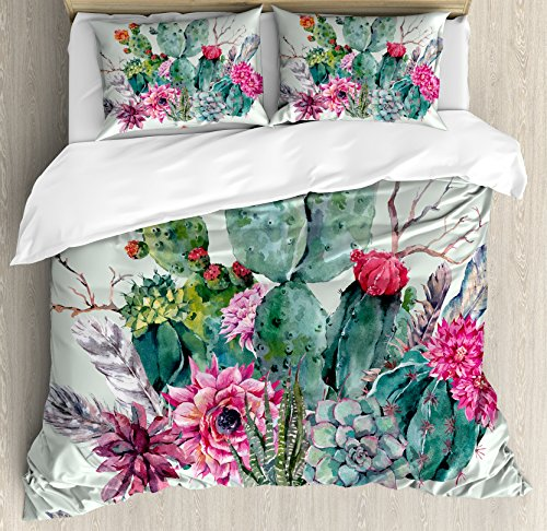 Garden Duvet Set - Ambesonne Cactus Duvet Cover Set, Spring Garden with Boho Style Bouquet of Thorny Plants Blossoms Arrows Feathers, Decorative 3 Piece Bedding Set with 2 Pillow Shams, Queen Size, White Pearl