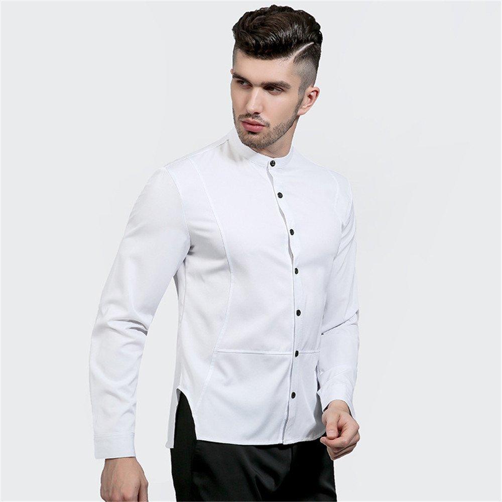 Lixus solide Kragen persönlichkeit unregelmäßigen Schlitze auf beiden Seiten eine Feste Farbe Kragen Hemd,weiße,XXL