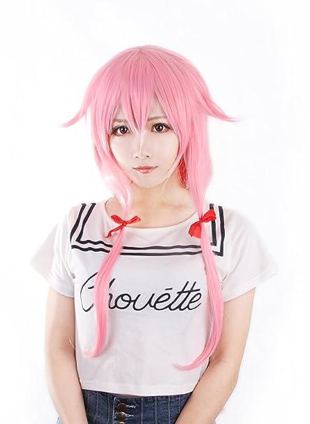 aicos I cos Belleza Gasai Yuno Mujer Largo Rosa recta cosplay peluca peluca Cap de regalo