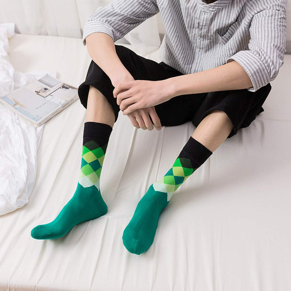 WEILAI Mens 5 Pack Cool Colourful Comfort Funky Rich Cotton Casual Dress Crew Calf Socks