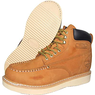 Amazon.com | Krazy American Men's Leather 6 Inch Moc Toe Men's Light Weight Work Boots | Wheat Color | Industrial & Construction Boots