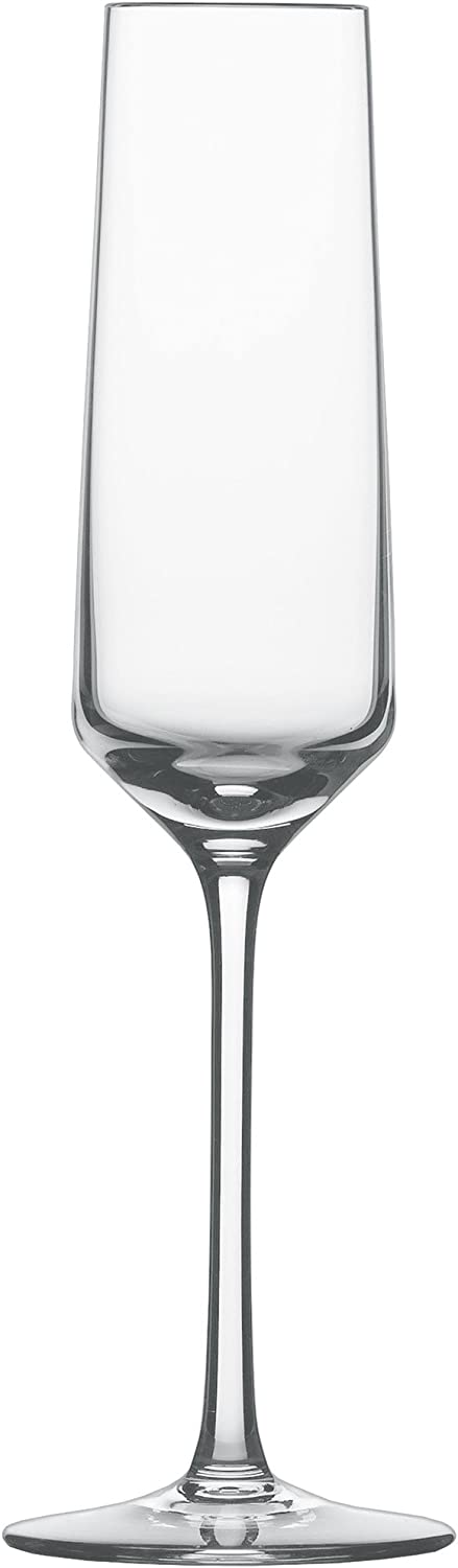 Schott Zwiesel Tritan Crystal Glass Pure Stemware Collection Champagne Flute with Effervescence Points, 7.1-Ounce, Set of 6 -
