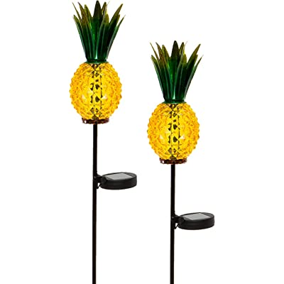 GreenLighting Outdoor Solar Pineapple LED Light - Glass Path Stake Lights for Patio and Garden 2-Pack : Garden & Outdoor