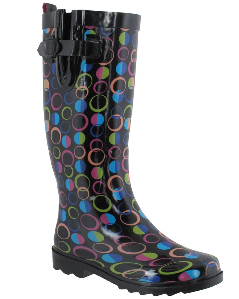 Capelli New York Ladies Tall Sporty Rubber Rain Boots with Designer Dots Black Combo 6