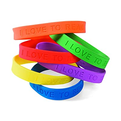 Fun Express I Love to Read Rubber Bracelets - 24 Pieces - Educational and Learning Activities for Kids: Toys & Games