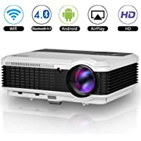 LED WiFi Projector with Bluetooth, Smart LCD Android Projector 1080p Support HDMI USB VGA AV Audio, Multimedia Home Projector Indoor Outdoor Movie for iPhone iPad Mac Laptop DVD PC Xbox Wii PS4 Games