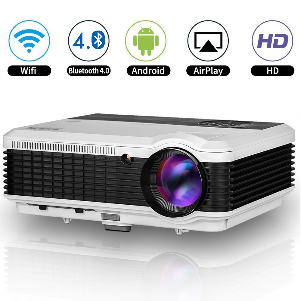 Android Bluetooth LCD Projector WXGA HD 1080p Support 3600 Lumen Wifi Smart LED Home Theatre Projector Airplay Miracast Wireless for iPhone Smartphone, Multimedia HDMI USB Audio for Outdoor Indoors by EUG