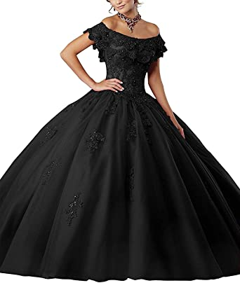 6c60479902 Meledy Women s Girls  Off The should Beads Prom Gowns Appliques Sweet  Sixteen Princess Ball Gown