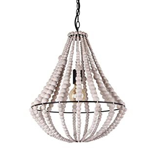 Giluta Conical Wood Bead Chandelier Retro Style Pendant Lamp, Industrial Metal Ring Frame Ceiling Lamp Kitchen Island Vintage Hanging Light Fixtures 1 Light, Gray White (C0045)