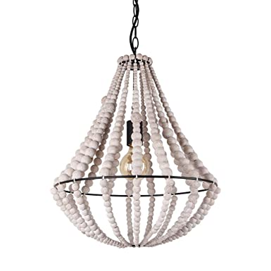 Giluta Conical Wood Bead Chandelier Retro Style Pendant Lamp, Industrial Metal Ring Frame Ceiling Lamp Kitchen Island Vintage Hanging Light Fixtures 1 Light, Gray White C0045