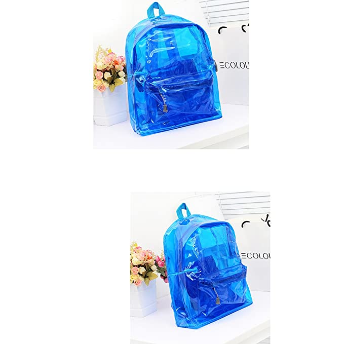 Amazon.com | LUOEM Adjustable Transparent Backpack School Security Backpack for Boys Girls (Blue) | Kids Backpacks