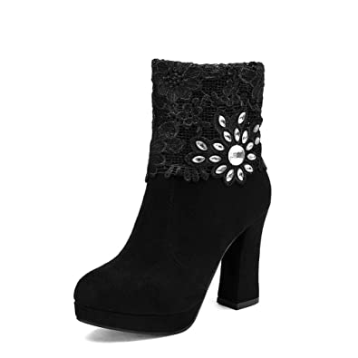 Ladies Lace Glass Diamond Platform Chunky Heels Black Frosted Boots - 8.5 B(M) US