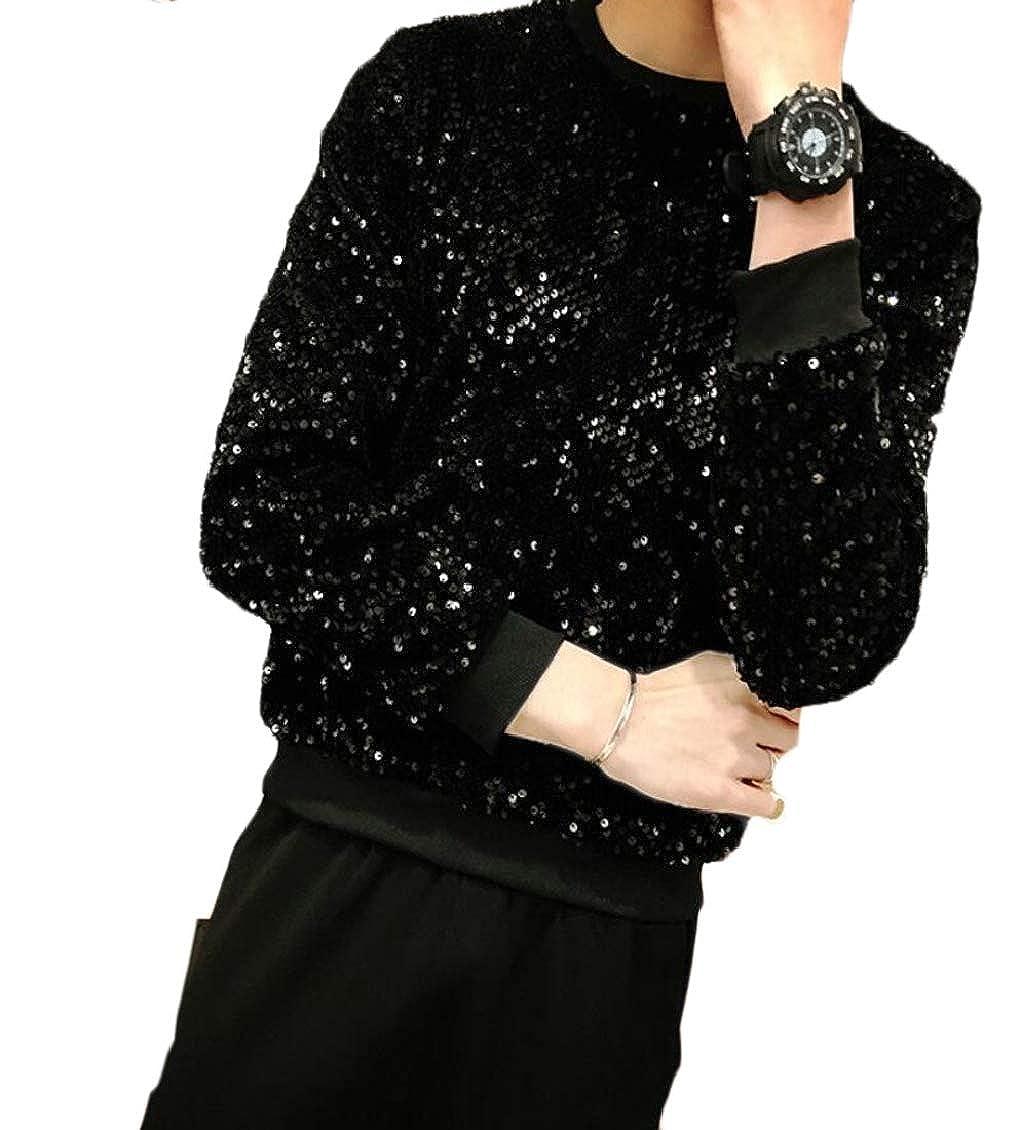 Hokny TD Mens Sequin Crewneck Long Sleeve Glitter Pullover Sweatshirts