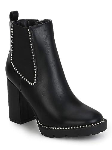718a1e78442 TRUFFLE COLLECTION Black PU Studded Cleated Platform Block Heel ...