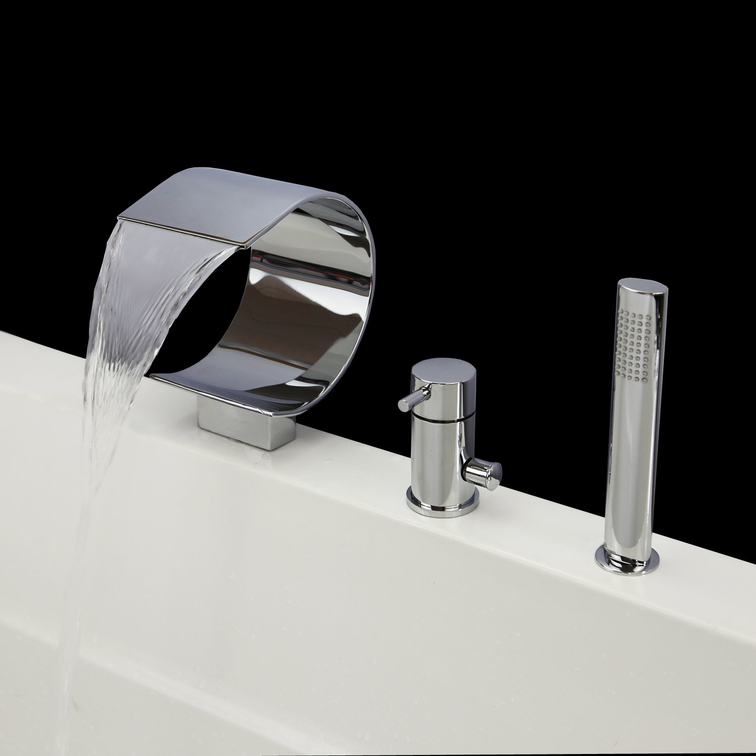 Widespread Waterfall Bathroom Bathtub Sink Faucet Plunge Bath Faucet ...