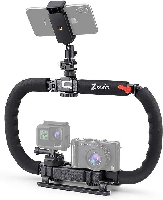 Zeadio video Stabilizzatore con Hot-shoe triplicarsi per Canon Nikon Sony Panasonic Pentax Olympus DSLR Videocamera Telecamera Fotocamera