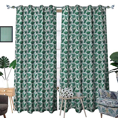 Banana Leaf Room Darkening Wide Curtains Monstera Areca and Fan Palm Leaves in Green Artistic Natural Pattern Decor Curtains by W108 x L84 Jade Green White