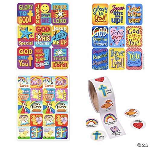 Large ASSORTMENT of 216 RELIGIOUS Inspirational Stickers - VACATION Bible School VBS Education CHRISTIAN Christ JESUS GOD Lord CRAFTS Scrapbooking - Party EASTER
