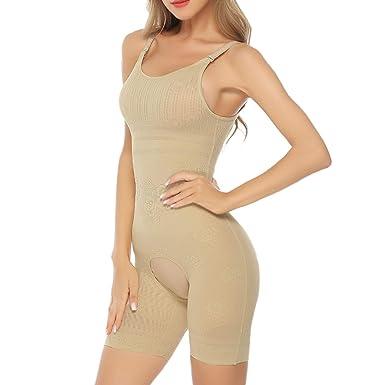 9fe9a6fc51b Hawiton Women Tummy Firm Control Bodysuit Shapewear Seamless Mid Thigh  Slimmer Body Shaper Crotch Open Beige