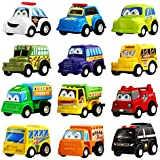 pull back car 12 pack assorted mini plastic vehicle setfuncorn toys pull back truck and car toys for boys kids toddler party favorsdie cast car toy play