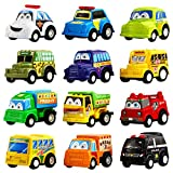 Funcorn Toys Pull Back Car, 12 Pack Assorted Mini Plastic Vehicle Set, Pull Back Truck and Car Toys for Boys Kids Child Party Favors,Die Cast Car Toy Play Set