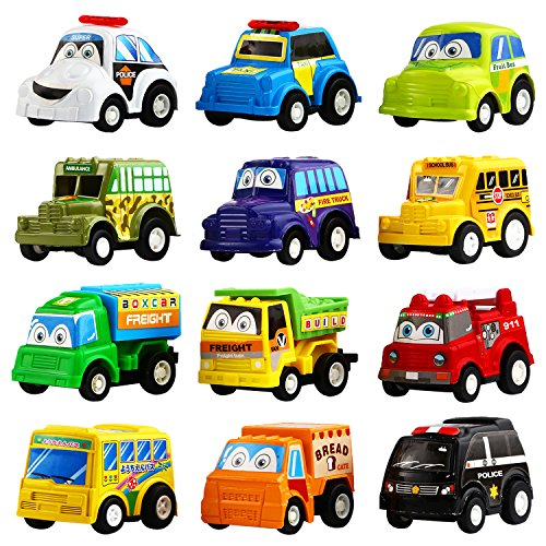 Funcorn Toys Pull Back Car, 12 Pack Assorted Mini Plastic Vehicle Set, Pull Back Truck and Car Toys for Boys Kids Child Party Favors,Die Cast Car Toy Play Set]()