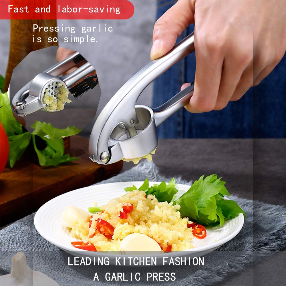 Garlic Press Rust-proof Professional Grade Stainless Steel Mincer KITHELP garlic Crusher With Silicone Roller Peeler Clean Brush Dishwasher safe