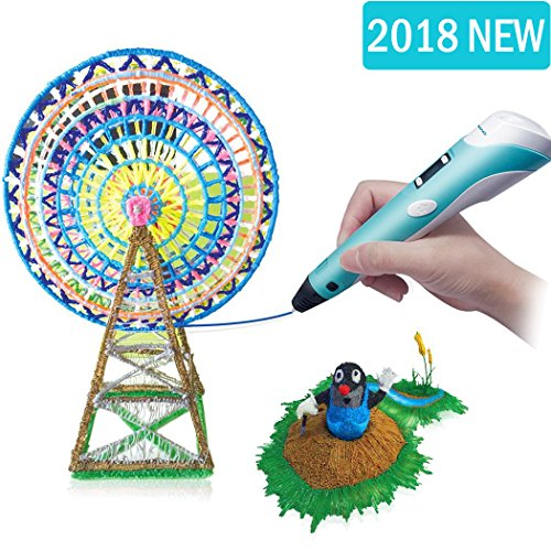 3D Pen RENY 3D Printer Pen Arts Pen Making Doodle Arts & Crafts - Unleash Children's Creativity, Develop Spatial Thinking ( Blue ) With Free Multi-Color 20 Meters PLA Filament For Kids Hobby Gift -