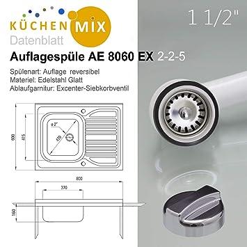 Auflagesp/üle AE 8060 Edelstahl Aufsatzsp/üle 800 x 600 mm ohne Hahnloch