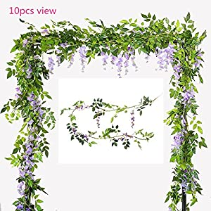 U-yaya Artificial Flowers 2Pcs Silk Wisteria Ivy Vine 6.6ft/pc Green Leaf Hanging Vine Garland for Wedding Party Home Garden Wall Decoration, Purple 88
