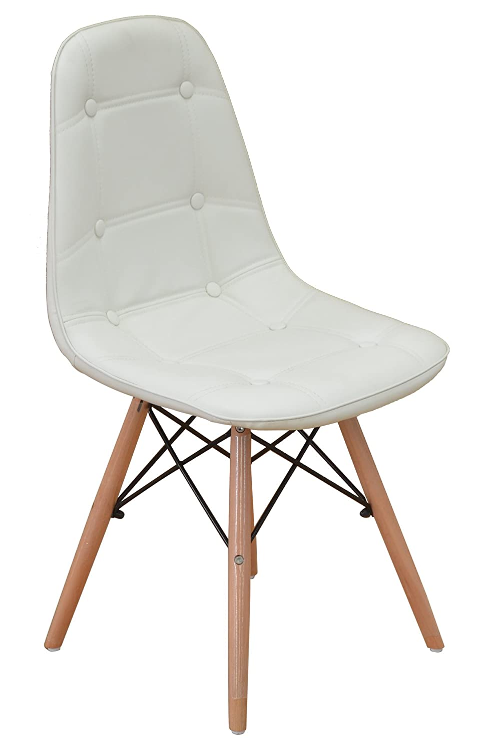 amazon com modern set of tufted 2 eames style chair natural wood