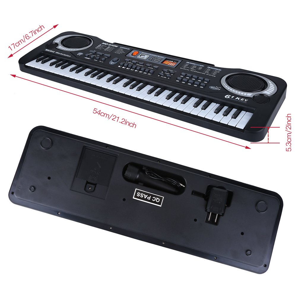 Electronic Piano, 61-Key Electric Digital Keyboard Piano Portable Musical Instruments Toy with Microphone by lyrlody (Image #4)