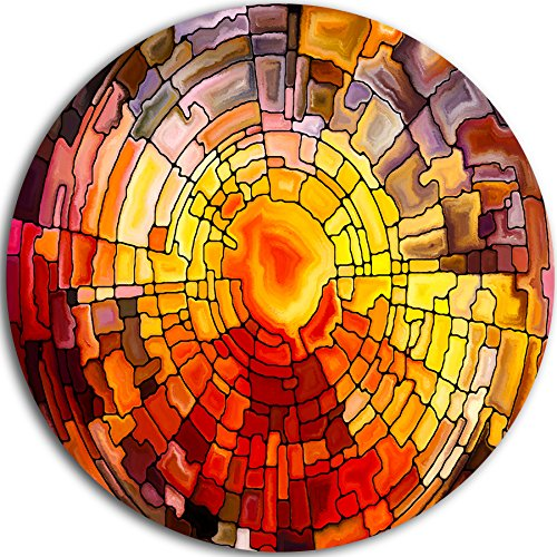 Designart Return of Stained Glass Contemporary Round Metal Wall Art