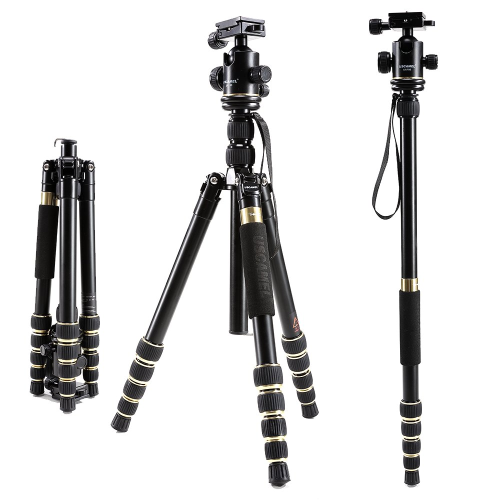 USCAMEL Tripod for Camera DSLR, Professional Portable Folding Aluminum Magnesium with Ball Head Set, Cell Phone and Ipad (Champagne Gold) by USCAMEL