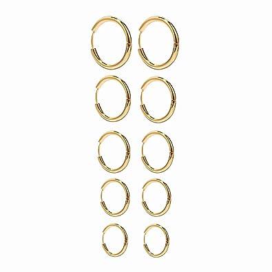 Onnea 5 Pares Pendientes Aro de Acero Inoxidable para Mujer Oro Plata Oro Rosa, Diámetro 10 mm 12 mm 14 mm 16 mm 18 mm