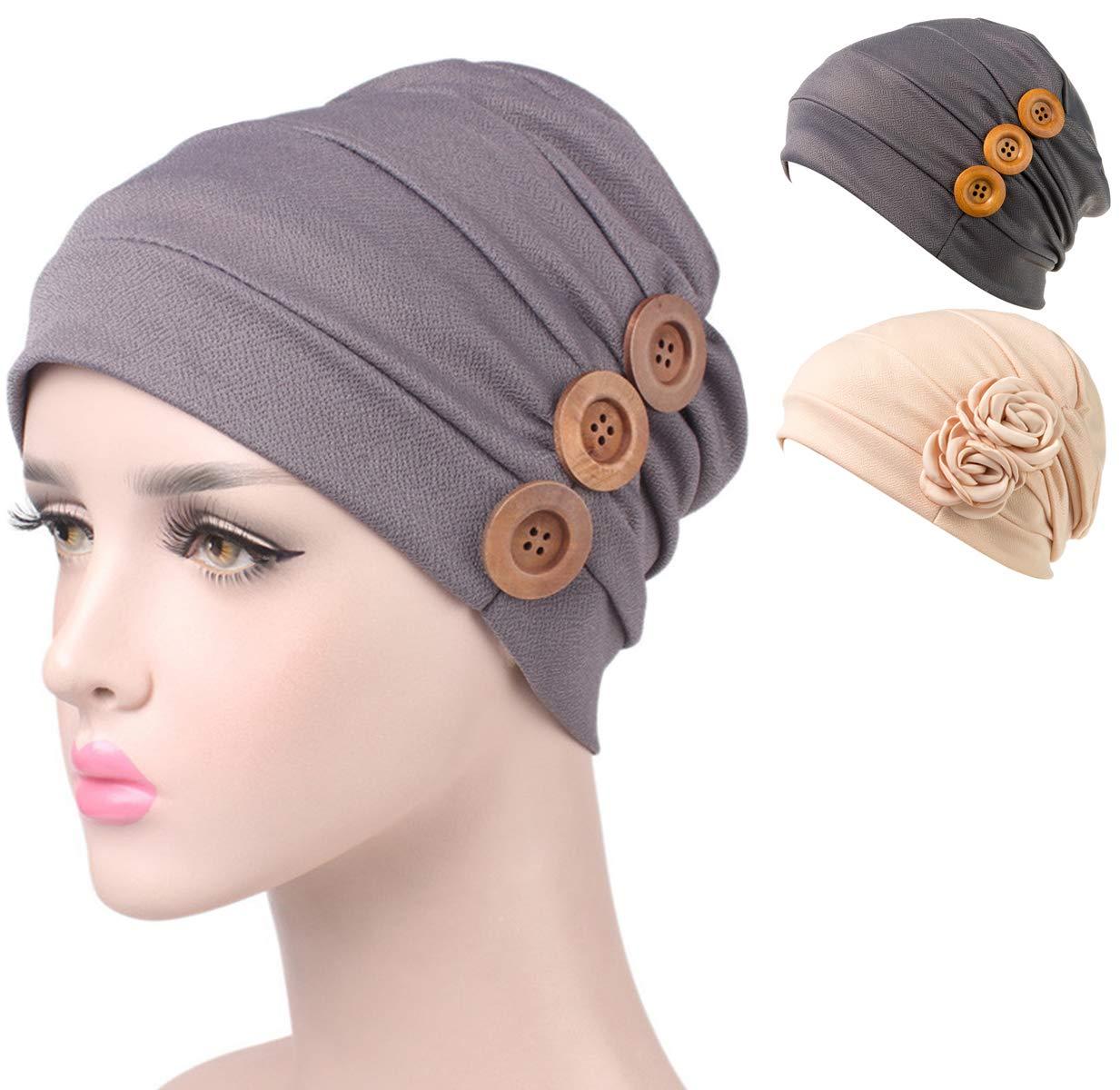 DancMolly Chemo Turban Cancer Ruffle Headband Beanie Cap Muslim Scarf Ethnic Cloth (Gray Bu+Beige Fl)