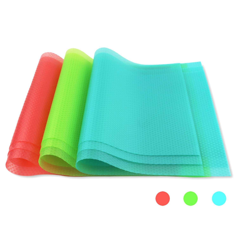 "BAKHUK 9pcs Refrigerator Mats (11""X17.7"") EVA Shelf Liners Refrigerator Liners Fridge Mats Drawer Table Placemats Pink Green Blue"