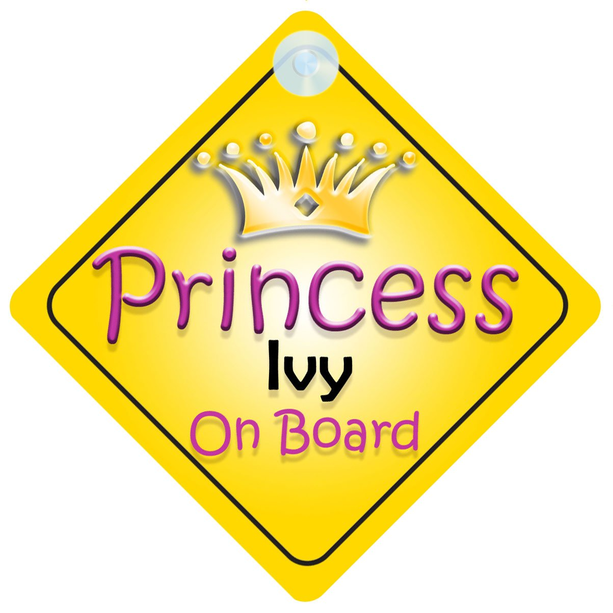 Princess Ivy On Board Girl Car Sign Child//Baby Gift//Present 002
