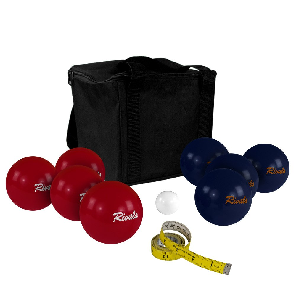 Rivals Bocce Ball Set Includes 4 Crimson and White Bocces Versus 4 Orange and Blue Bocces, 1 Pallino, Measuring Tape, and Carrying Case With Strap | Perfect For The College Fan and Game Day by Titan Performance Products (Image #1)