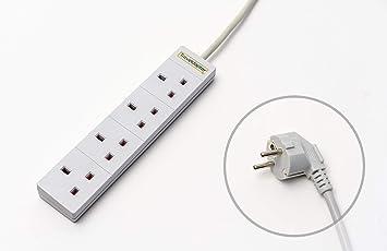 Adaptador de Viaje ESPAÑA Cable de Extensión Multi Seguro de Strip 4 entradas Cable ultracompacto para