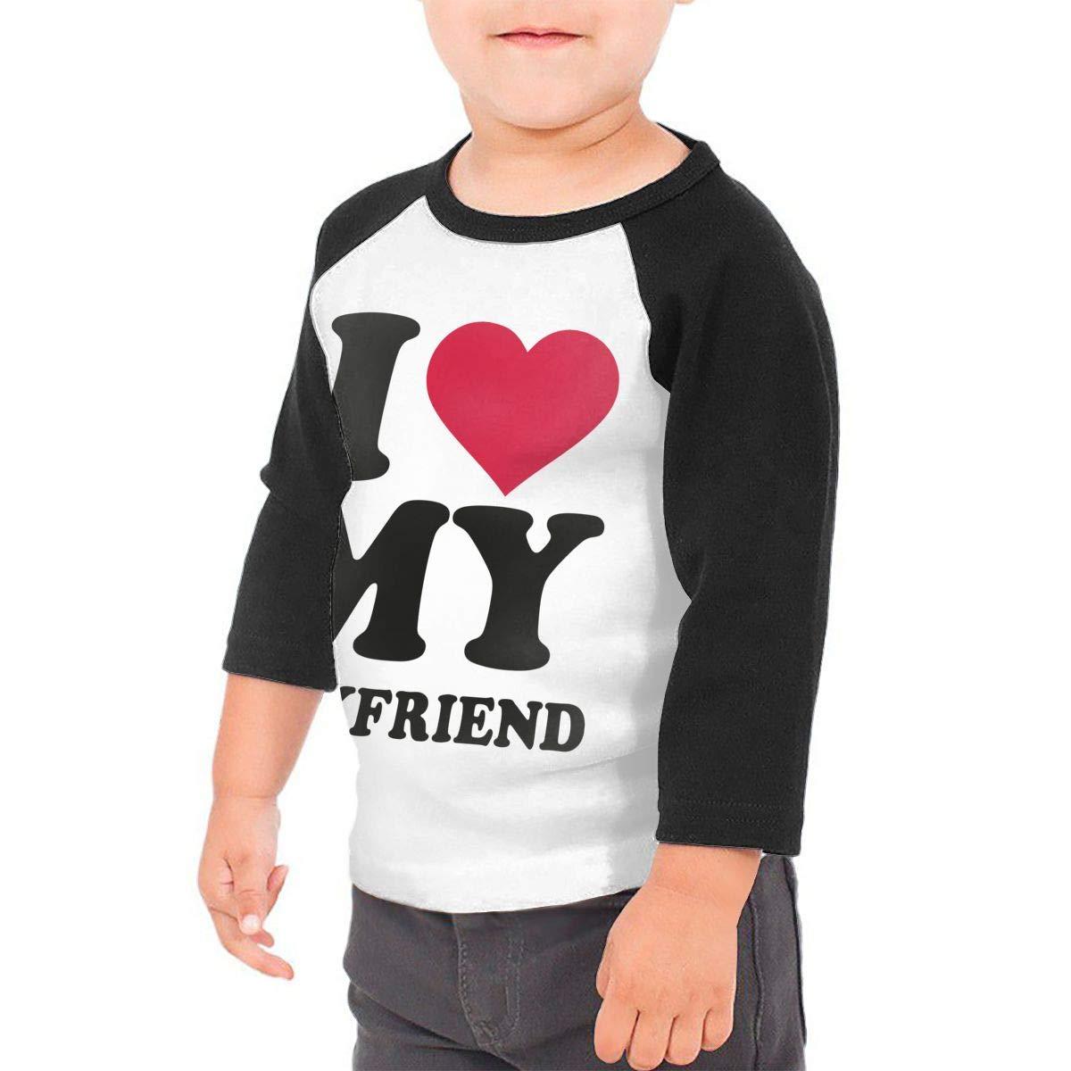 Boys Girls Kids /& Toddler I Love My Boyfriend Long Sleeve Tees 100/% Cotton