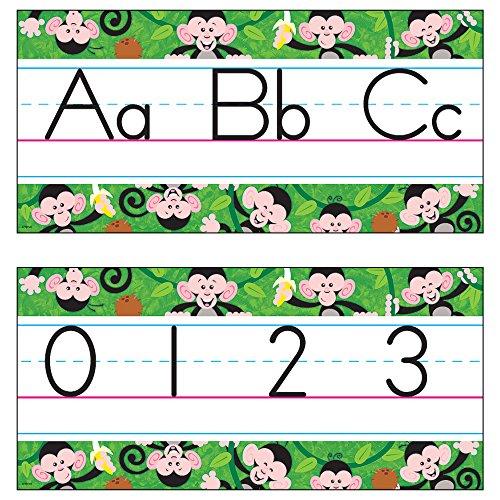 TREND enterprises, Inc. Monkey Mischief Jumbo Alphabet Lines - Zaner-Bloser ManuscriptBulletin Board Set