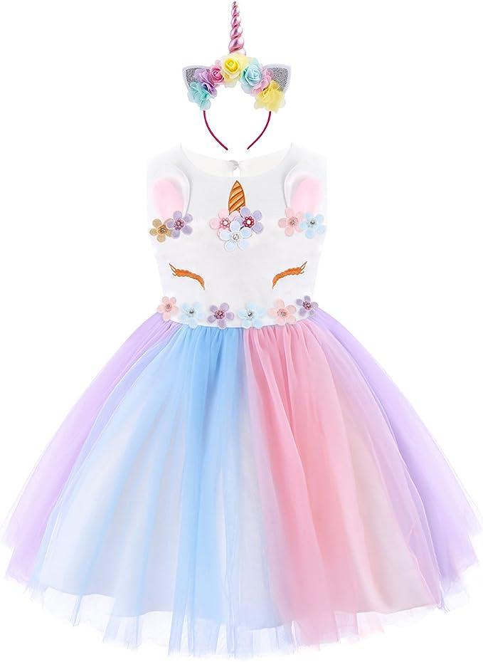 Vestido de Tutu Princesa Unicornio Arco iris Fiesta de cumpleaños ...