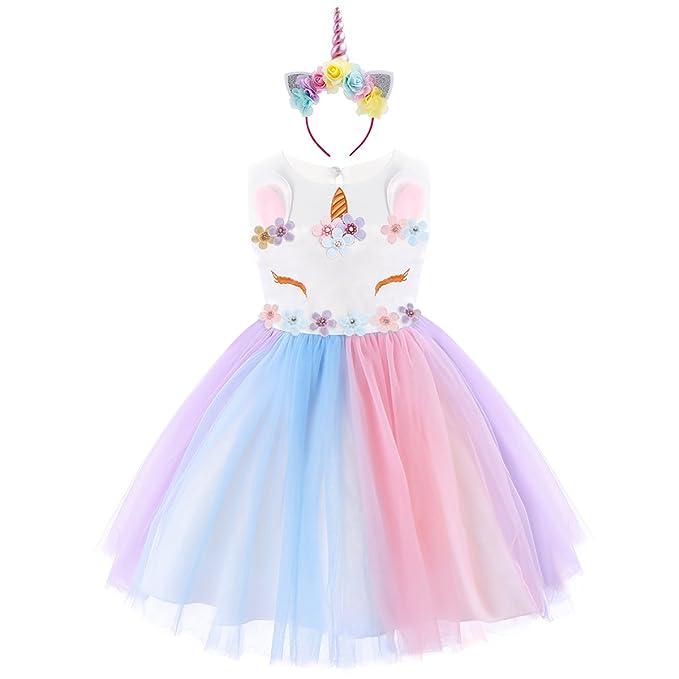 IBTOM CASTLE Niña Princesa Vestido Flor Unicornio Disfraz de Cosplay para Fiesta Carnaval Bautizo Cumpleaños Comunión