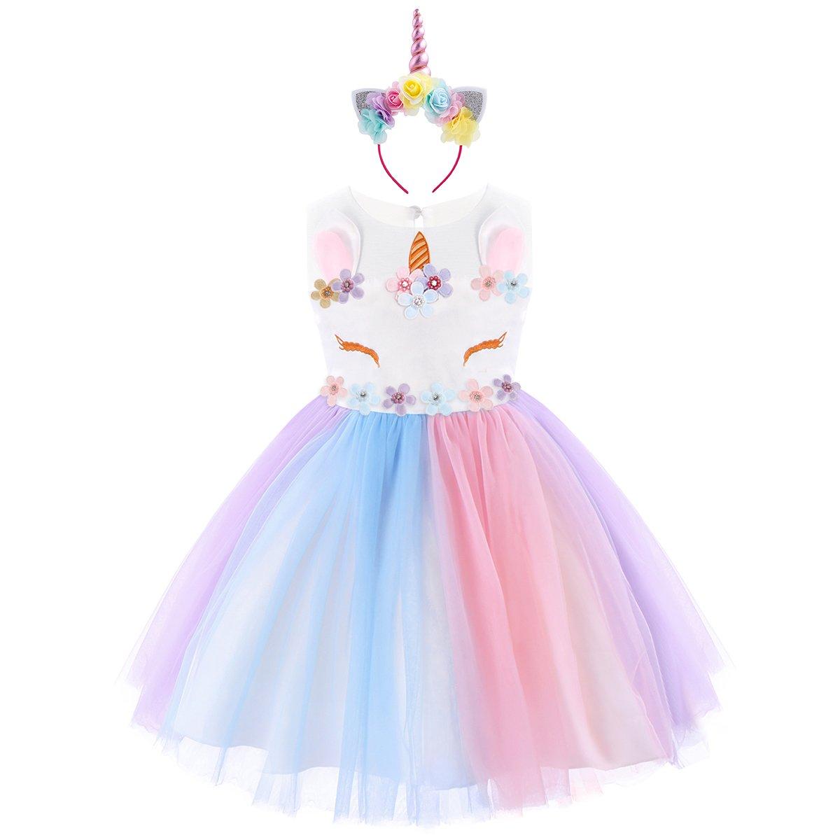 Baby Girls Unicorn Rainbow Party Dress Toddler Sleeveless Princess Birthday Wedding Dress Halloween Dressing Up Costumes with Headband 2-3 Years